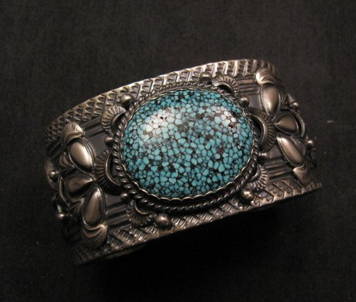 Image 0 of Navajo Native American Kingman Web Turquoise Bracelet, Gilbert Tom