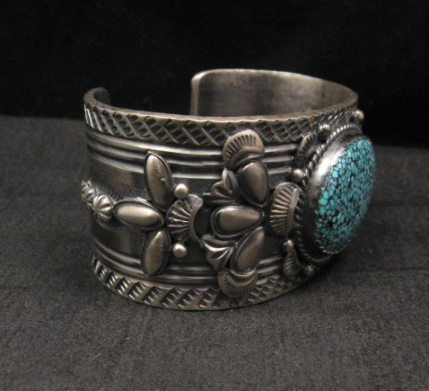 Image 1 of Navajo Native American Kingman Web Turquoise Bracelet, Gilbert Tom