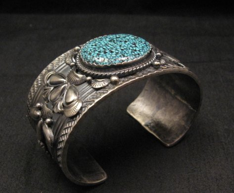 Image 6 of Navajo Native American Kingman Web Turquoise Bracelet, Gilbert Tom