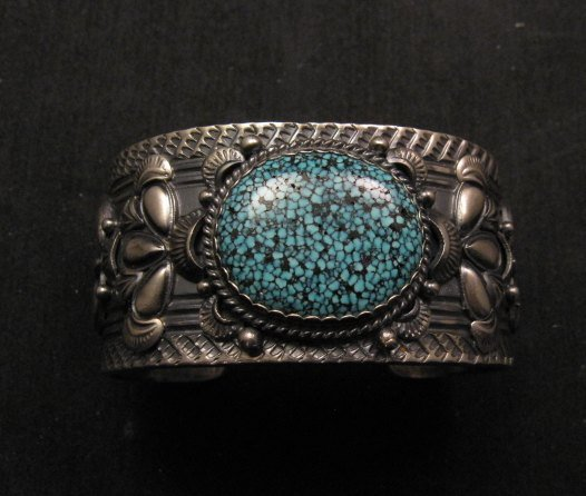 Image 2 of Navajo Native American Kingman Web Turquoise Bracelet, Gilbert Tom