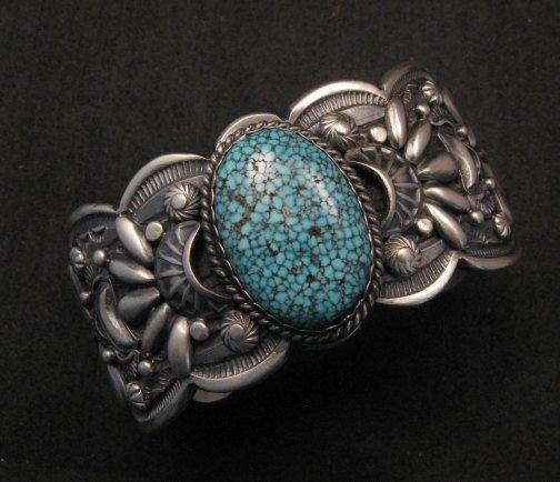 Image 0 of Heavy Navajo Native American Kingman Web Turquoise Bracelet, Gilbert Tom