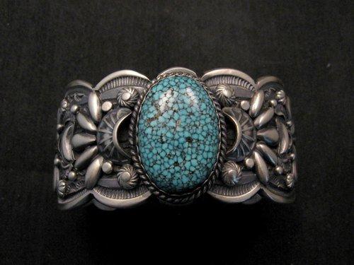 Image 2 of Heavy Navajo Native American Kingman Web Turquoise Bracelet, Gilbert Tom