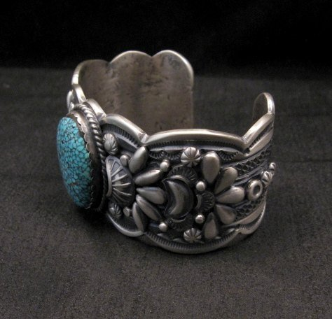 Image 3 of Heavy Navajo Native American Kingman Web Turquoise Bracelet, Gilbert Tom