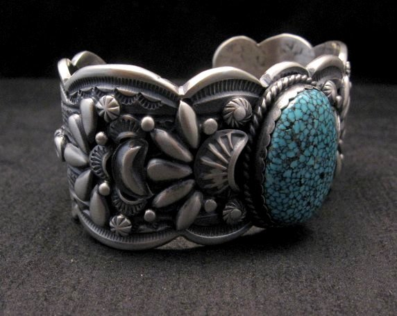 Image 4 of Heavy Navajo Native American Kingman Web Turquoise Bracelet, Gilbert Tom