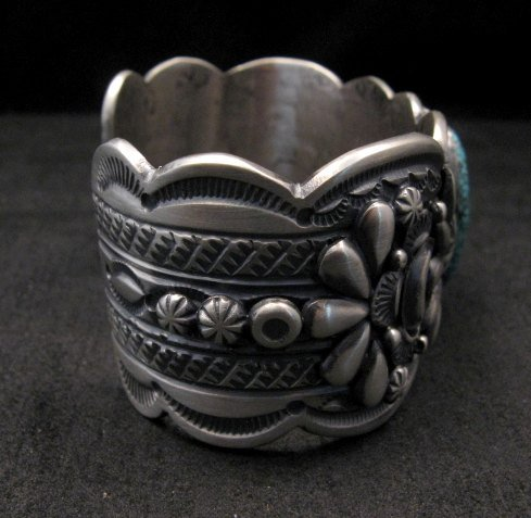Image 5 of Heavy Navajo Native American Kingman Web Turquoise Bracelet, Gilbert Tom