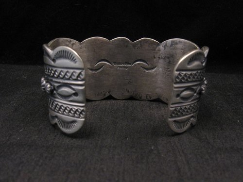 Image 6 of Heavy Navajo Native American Kingman Web Turquoise Bracelet, Gilbert Tom