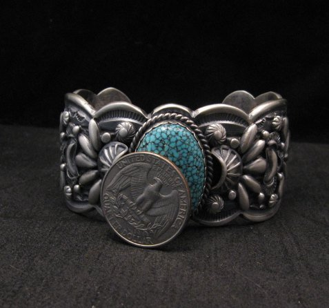 Image 8 of Heavy Navajo Native American Kingman Web Turquoise Bracelet, Gilbert Tom