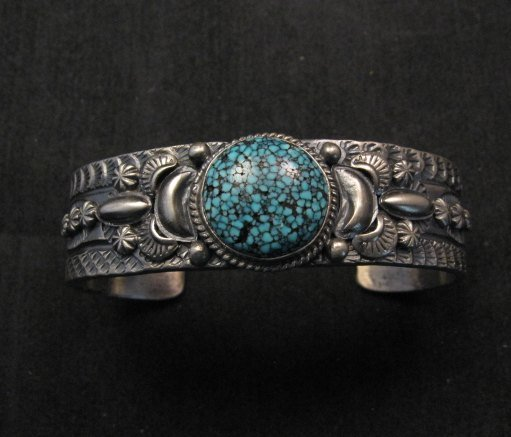 Image 5 of Navajo Native American Kingman Web Turquoise Silver Bracelet, Gilbert Tom