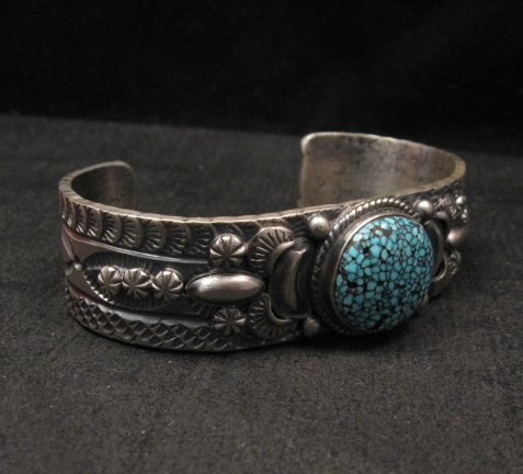 Image 1 of Navajo Native American Kingman Web Turquoise Silver Bracelet, Gilbert Tom