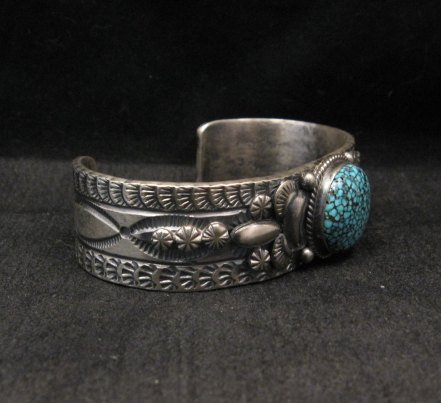 Image 3 of Navajo Native American Kingman Web Turquoise Silver Bracelet, Gilbert Tom