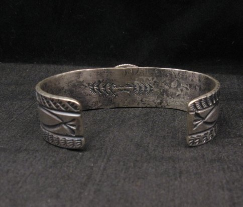 Image 4 of Navajo Native American Kingman Web Turquoise Silver Bracelet, Gilbert Tom