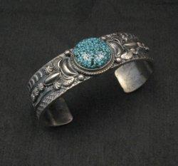 Navajo Native American Kingman Web Turquoise Silver Bracelet, Gilbert Tom