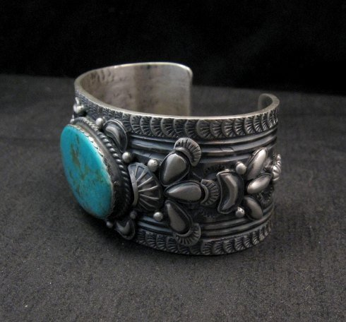 Image 1 of Navajo ~ Gilbert Tom ~ Native American Turquoise Silver Bracelet