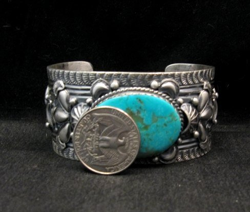 Image 3 of Navajo ~ Gilbert Tom ~ Native American Turquoise Silver Bracelet