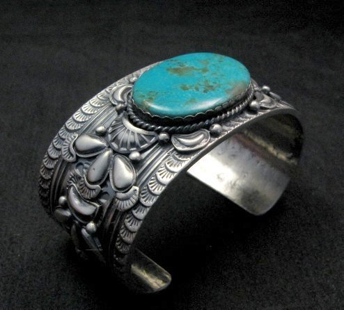 Image 4 of Navajo ~ Gilbert Tom ~ Native American Turquoise Silver Bracelet