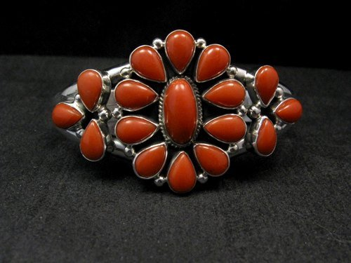 Image 0 of Navajo Native American Silver & Coral Cluster Bracelet, Renell Perry