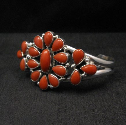 Image 1 of Navajo Native American Silver & Coral Cluster Bracelet, Renell Perry