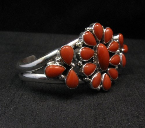 Image 2 of Navajo Native American Silver & Coral Cluster Bracelet, Renell Perry