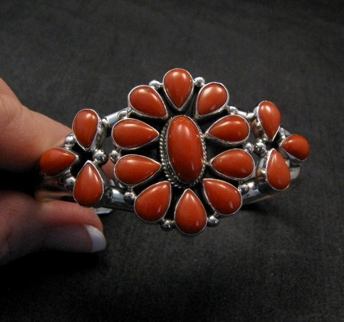 Image 5 of Navajo Native American Silver & Coral Cluster Bracelet, Renell Perry