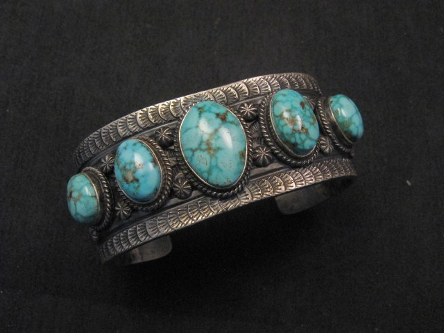 Image 0 of Navajo Native American Bird's Eye Turquoise Silver Bracelet, Gilbert Tom