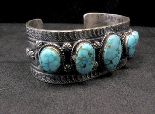 Image 2 of Navajo Native American Bird's Eye Turquoise Silver Bracelet, Gilbert Tom