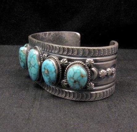 Image 3 of Navajo Native American Bird's Eye Turquoise Silver Bracelet, Gilbert Tom