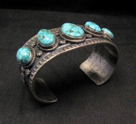 Image 5 of Navajo Native American Bird's Eye Turquoise Silver Bracelet, Gilbert Tom