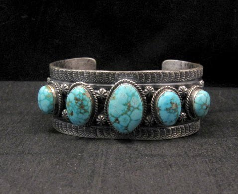 Image 6 of Navajo Native American Bird's Eye Turquoise Silver Bracelet, Gilbert Tom