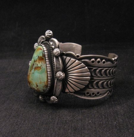 Image 1 of Navajo Turquoise Stamped Sterling Silver Cuff Bracelet, Bennie Ramone