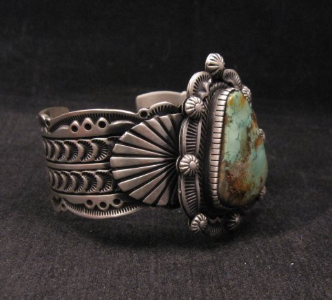 Image 2 of Navajo Turquoise Stamped Sterling Silver Cuff Bracelet, Bennie Ramone