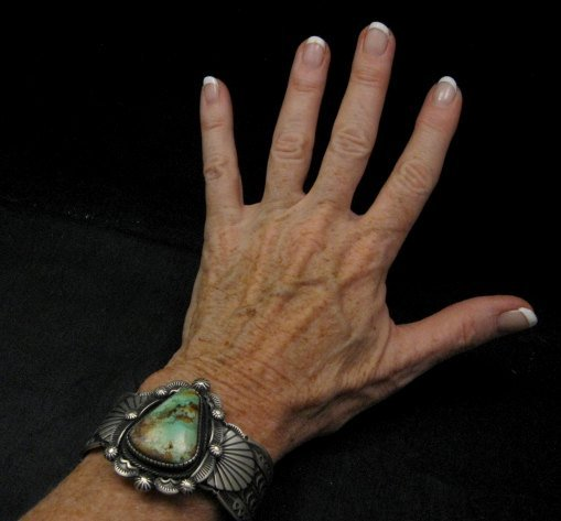 Image 3 of Navajo Turquoise Stamped Sterling Silver Cuff Bracelet, Bennie Ramone