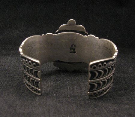 Image 4 of Navajo Turquoise Stamped Sterling Silver Cuff Bracelet, Bennie Ramone