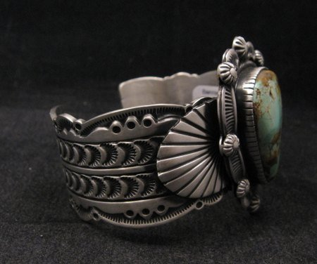 Image 5 of Navajo Turquoise Stamped Sterling Silver Cuff Bracelet, Bennie Ramone