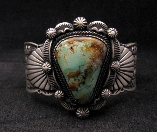 Image 6 of Navajo Turquoise Stamped Sterling Silver Cuff Bracelet, Bennie Ramone