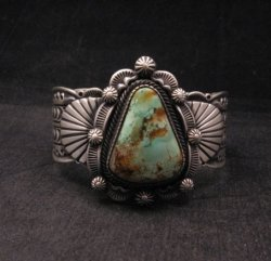 Navajo Turquoise Stamped Sterling Silver Cuff Bracelet, Bennie Ramone
