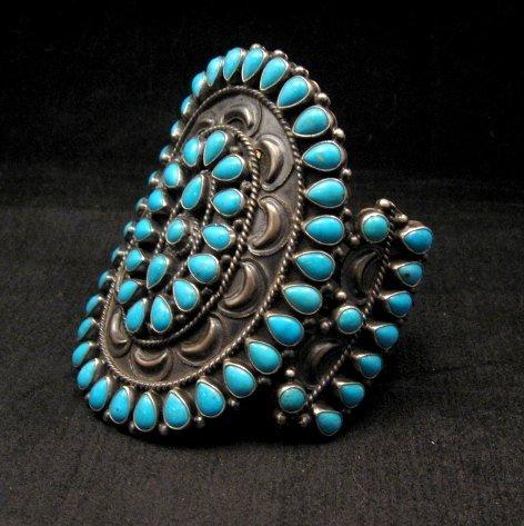 Image 1 of Huge Navajo Native American Silver & Turquoise Cluster Bracelet, Anthony Skeets