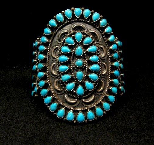 Image 0 of Huge Navajo Native American Silver & Turquoise Cluster Bracelet, Anthony Skeets