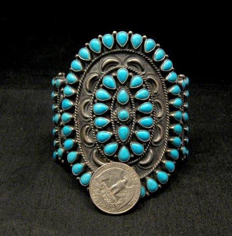 Image 6 of Huge Navajo Native American Silver & Turquoise Cluster Bracelet, Anthony Skeets