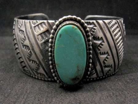 Image 0 of Large Navajo Handmade Sterling Silver Kingman Turquoise Bracelet Lionel Dabbs