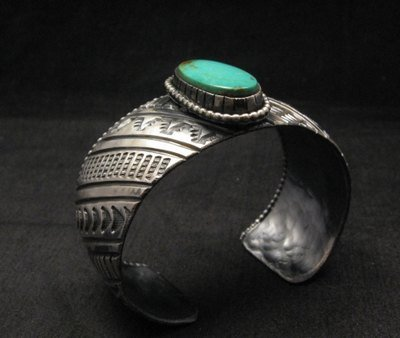 Image 1 of Large Navajo Handmade Sterling Silver Kingman Turquoise Bracelet Lionel Dabbs