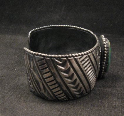 Image 2 of Large Navajo Handmade Sterling Silver Kingman Turquoise Bracelet Lionel Dabbs