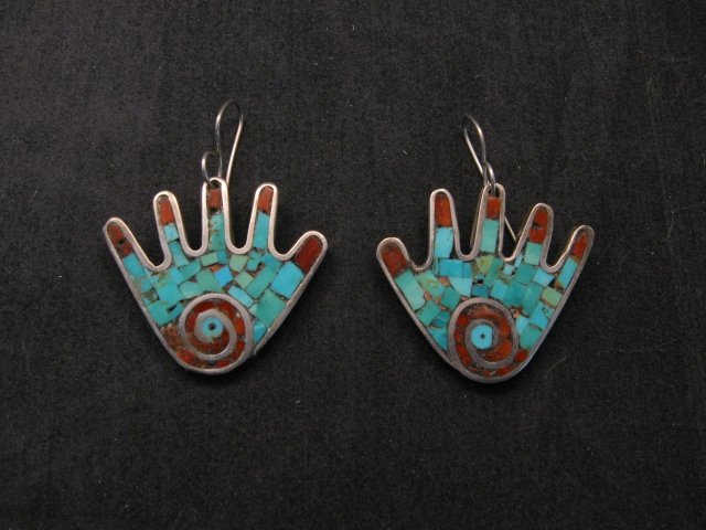 Image 0 of Vintage Mary Lovato Santo Domingo Mosaic Turquoise Coral Shell Hand Earrings