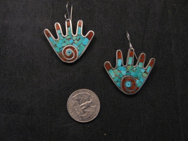 Image 1 of Vintage Mary Lovato Santo Domingo Mosaic Turquoise Coral Shell Hand Earrings