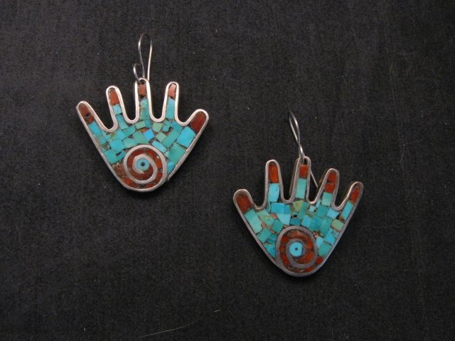Image 3 of Vintage Mary Lovato Santo Domingo Mosaic Turquoise Coral Shell Hand Earrings