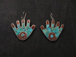 Vintage Mary Lovato Santo Domingo Mosaic Turquoise Coral Shell Hand Earrings