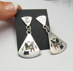 Native American Earrings Hummingbird Sterling Silver Inlay Zuni Sanford Edaakie