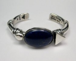 Orville Tsinnie Navajo Native American Lapis Silver Wrap Bracelet, Medium