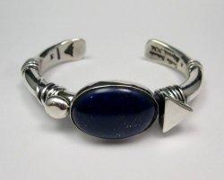 Orville Tsinnie Navajo Native American Lapis Silver Wrap Bracelet, Medium