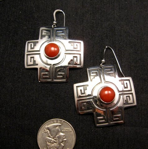 Image 0 of Navajo Coral Silver Sante Fe Cross Earrings, Everett & Mary Teller