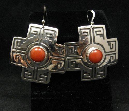 Image 1 of Navajo Coral Silver Sante Fe Cross Earrings, Everett & Mary Teller